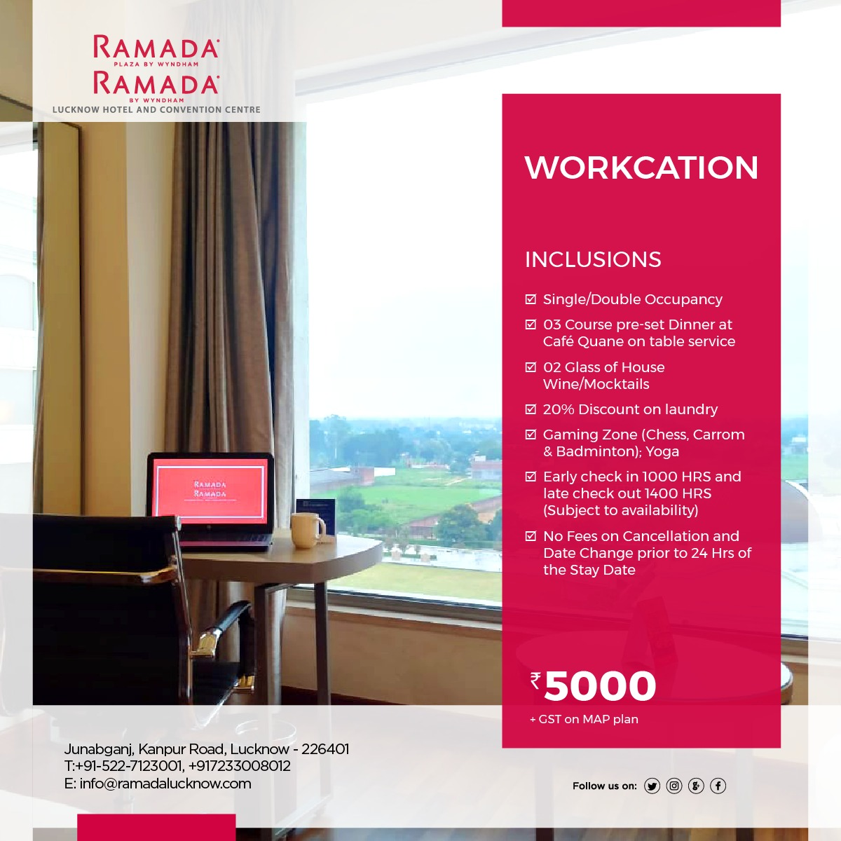 Workcation Package Lucknow Ramada Lucknow